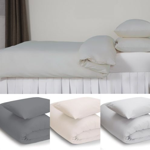 Easy care Polycotton Flat Bed Sheets in White, Ivory, Grey and Duck Egg