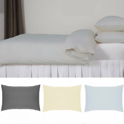 easy care pillowcases available in white, ivory, duck egg and grey