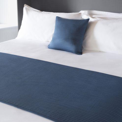 Eros Navy Blue Flame Retardant Bed Runners