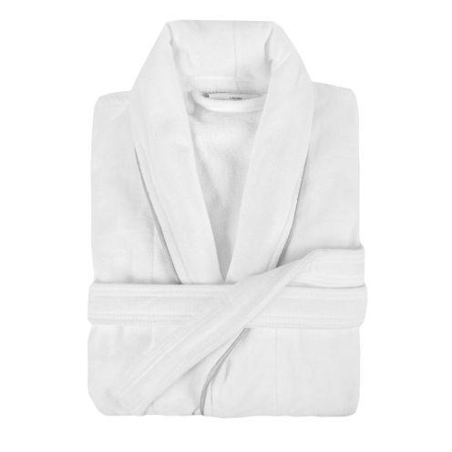 Laguna Bathrobes - White 100% Cotton with Grey Trim