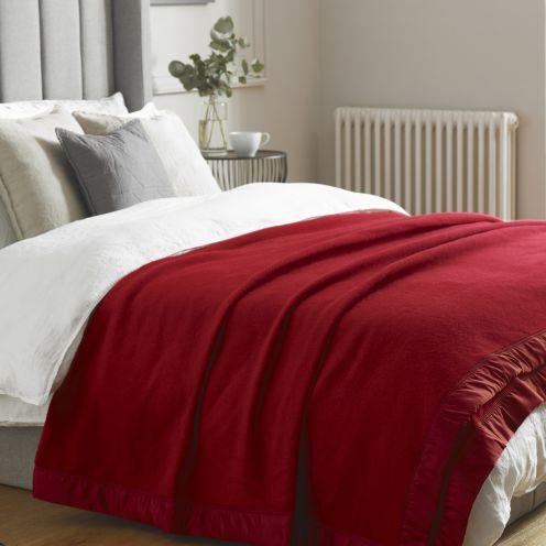 Hainsworth Duchess Cherry Red Merino Wool Throw